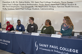 Dr. Zahra Roble, '03, Nurse Practitioner; Pierre Young, Student Ambassador, Pedro Reed, Student & Mo-Tech Employee; Toya Dragseth, '18, Application Analyst, Fairview Health Services; Holly Soldner, Cabinetmaking Student